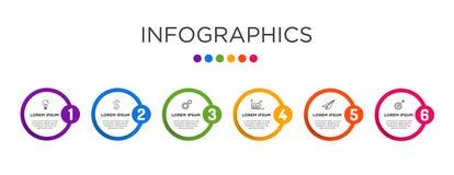 Farbenreiche Geschäftsaufkleber Infographic-Schablone stockfotos