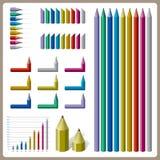 Farbenreiches Bleistiftdesign für Diagramm Lizenzfreie Stockbilder