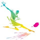Farbenspritzen - Fußballspieler, der den Ball tritt Lizenzfreies Stockbild