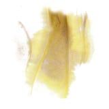Farbenspritzenfarbtintenaquarellisolat-Kalkanschlag plätschern gelbe graue Watercolour aquarel Bürste stockfotografie