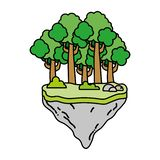 Farbexotische Bäume und -büsche im Floss idland stock abbildung