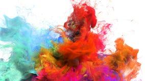 Farbexplosion - Alphalech der bunten orange cyan-blauen Partikel der Rauchexplosion flüssigen stock video footage