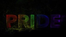Farbexplosion PRIDE Text durch Partikel und Bewegungsgraphikfarbexplosion Staub vibrierenden heiligen holi Festivals ästhetische  lizenzfreie abbildung