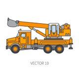 Farbflacher Vektorikonenbaumaschinen-LKW-Bagger Industrielle Art Unternehmensfrachtlieferung kommerziell lizenzfreie abbildung