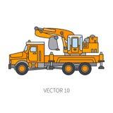 Farbflacher Vektorikonenbaumaschinen-LKW-Bagger Industrielle Art Unternehmensfrachtlieferung kommerziell stock abbildung