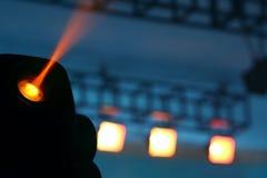 Farbflutlicht zum Belichten von Glühen in der Dunkelheit Stockfotografie