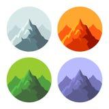 Farbgebirgsikonen eingestellt auf weißen Hintergrund Vektor Lizenzfreie Stockfotografie