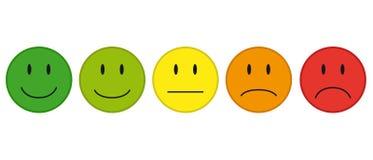 Farbgesichter für Feedback oder Stimmung - 5 Vektor-Ikonen lizenzfreie abbildung