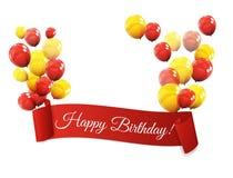 Farbglatte Ballon-Geburtstags-Hintergrund-Vektor-Illustration Stockfoto