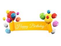 Farbglatte Ballon-Geburtstags-Hintergrund-Vektor-Illustration Stockbild