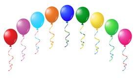 Farbglatte Ballone auf Weiß Lizenzfreie Stockfotos