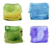 Farbhöhepunktstreifen, quadratische Fahnen gezeichnet mit Aquarell lizenzfreie stockfotografie