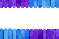 Farbhölzerner Eiscremestock-Rahmenhintergrund Stockfoto