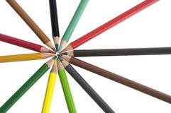 Farbhölzerner Stern der bunten Bleistifthintergrund-Palette Stockfotos