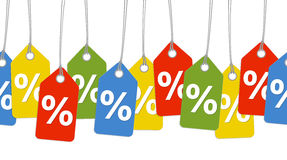 Farbige Anhänger mit % Zeichen - endlos Lizenzfreie Stockbilder