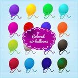 Farbige Ballone auf einem blauen Hintergrund stock abbildung