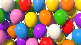 Farbige Ballone, die herauf Schirm füllen Stockbild