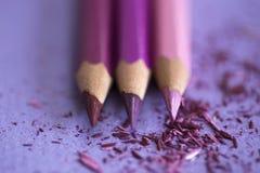Farbige Bleistifte auf purpurrotem Hintergrund mit den Schnitzeln von Stockfotos