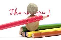 Farbige Bleistifte - danke Stockbild