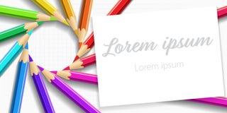 Farbige Bleistifte der Hintergrundpostkarte Fahne lizenzfreies stockfoto