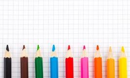 Farbige Bleistifte in der Reihe Lizenzfreie Stockfotografie