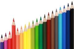 Farbige Bleistifte, die ein steigendes Diagramm bilden Stockfoto