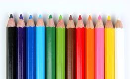 Farbige Bleistifte horizontal Stockfotografie
