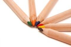 Farbige Bleistifte im Halbrund Lizenzfreies Stockbild