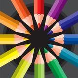 Farbige Bleistifte im Kreis Lizenzfreies Stockfoto