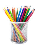 Farbige Bleistifte im Topf Stockfoto