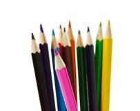 Farbige Bleistifte lokalisiert auf Weiß Stockbild