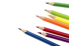 Farbige Bleistifte lokalisiert auf Weiß Stockbilder