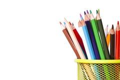 Farbige Bleistifte mit Weiß Lizenzfreie Stockbilder