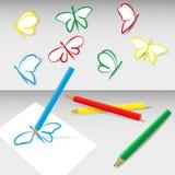 farbige Bleistifte, Schmetterlinge, Stockfotografie