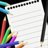 Farbige Bleistifte und Anmerkungen Lizenzfreies Stockbild
