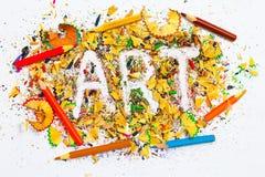 Farbige Bleistifte und Aufschrift KUNST Stockfotografie