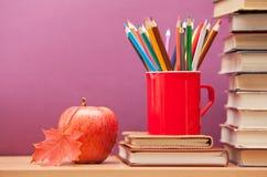 Farbige Bleistifte und Bücher Lizenzfreies Stockbild