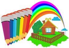 Farbige Bleistifte und ein Regenbogen Stockfoto