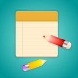 Farbige Bleistifte und einfaches gezeichnetes Notizbuch Lizenzfreie Abbildung