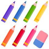 Farbige Bleistifte und Radiergummi Stockfoto