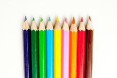 Farbige Bleistifte von der Spitze Lizenzfreies Stockbild
