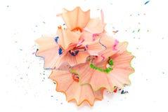 Farbige Bleistiftschnitzel Stockfotografie
