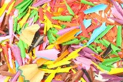 Farbige Bleistiftschnitzel Stockbild