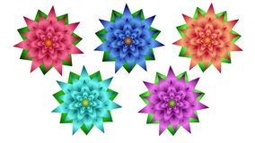 Farbige Blumen werden für Dekoration von Postkarten, Broschüren, Poster, Fahnen, Website benutzt Stockbild