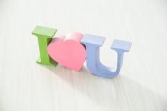 Farbige Buchstaben ich liebe dich Stockfotografie