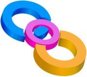 Farbige centrical Kreise zusammen verbunden Stockbilder