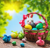 Farbige Eier im Korb Lizenzfreie Stockbilder