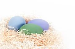 Farbige Eier im Nest Stockbild