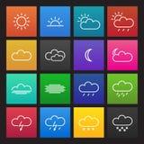 Farbige einfache Wetterikonen Stockfoto