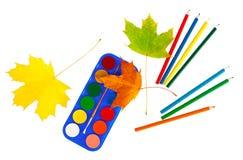 Farbige Farben und Bleistifte für das Zeichnen zurück lokalisiert auf einem Weiß Stockfotos